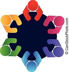 lavoro squadra, lavorante, riunione, logotipo