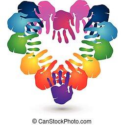 lavoro squadra, mani, forma cuore, logotipo