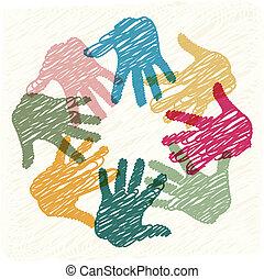 lavoro squadra, mani