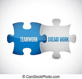 lavoro squadra, marche, il, sogno, lavoro, confondere pezzi