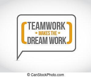 lavoro squadra, marche, il, sogno, lavoro, messaggio, bolla