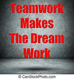 lavoro squadra, marche, il, sogno, lavoro, parete concreta