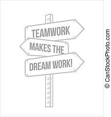 lavoro squadra, marche, il, sogno, lavoro, segno