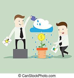 lavoro squadra, ottenere, uno, profitto