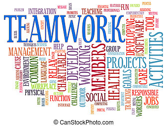 lavoro squadra, parola, etichette