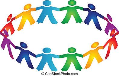 lavoro squadra, persone, logotipo