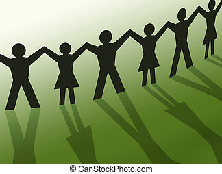 lavoro squadra, persone, silhouette, comunità, illustrazione