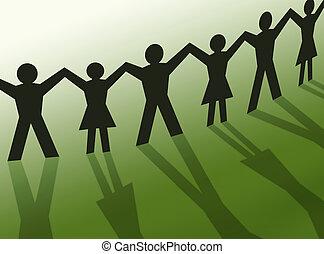 lavoro squadra, persone, silhouette, illustrazione, comunità