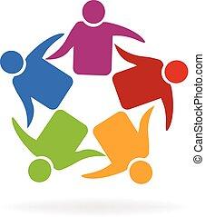 lavoro squadra, riunione, logotipo