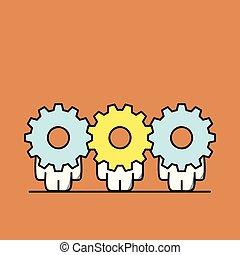 lavoro squadra, ruota dentata