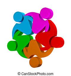 lavoro squadra, sociale, logotipo, media, 3d