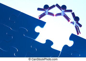 lavoro squadra, su, risolvere, puzzle, problema