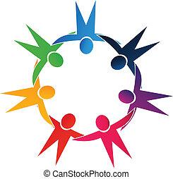 lavoro squadra, tenere mani, persone, logotipo
