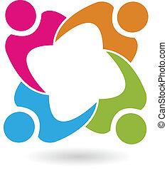 lavoro squadra, unione, 4 persone, logotipo, vettore