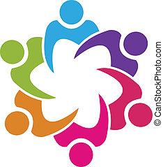 lavoro squadra, unione, 6 persone, logotipo, vettore