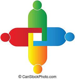 lavoro squadra, unione, logotipo, vettore