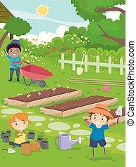 lavoro, stickman, giardino, illustrazione, bambini