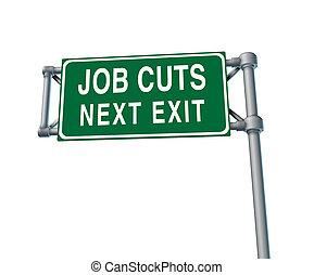 lavoro, tagli, segno strada principale