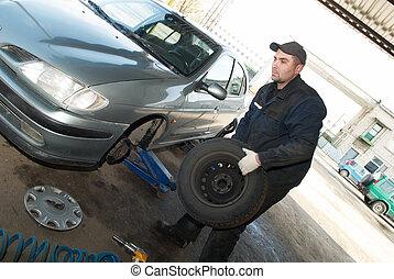 lavoro, tecnico di assistenza, pneumatico