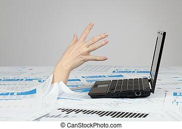 lavoro ufficio, annegamento, -, burocrazia