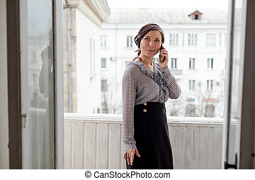 lavoro, ufficio, donna asiatica, affari, bello