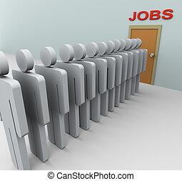 lavoro, uomini, ricerca, 3d