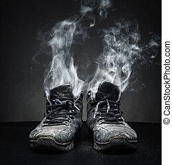 lavoro, vecchio, scarpe, fumo