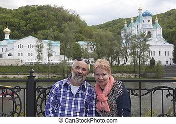 lavra., 年齢, カップル, 成長した, 教会, 水辺地帯, 肖像画, svyatogorsk