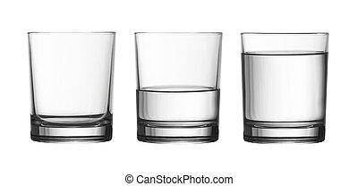 lavtliggende, tom, halve, og, fulde, i, vand glas, isoleret,...