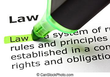 'law', ハイライトした, 中に, 緑