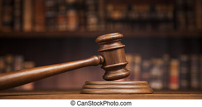 Law and justice concept, Brown wooden background - law theme...
