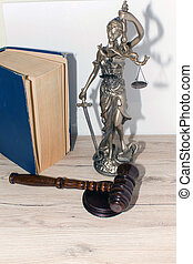 Law and Justice concept. Mallet of the judge, books, scales of justice.