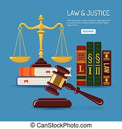 Law and Justice Concept with flat icons justice scales,...