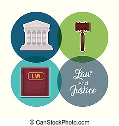 Law and justice design - Icon set of law of justice concept...