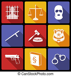 Law legal justice white on flat icons set with badge gavel gun isolated vector illustration