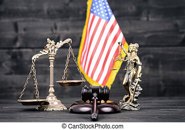 Judge Gavel, Lady Justice, Scales of Justice and USA flag on...