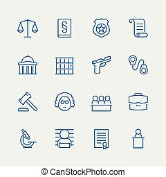 Law and justice related vector icon set