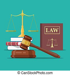 Law and justice set icon, Scales of justice, gavel and books...