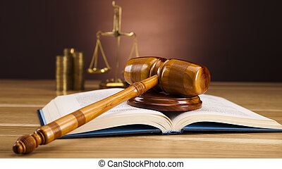 Law and money concept, coins - Law and justice concept in ...