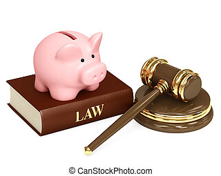 Law and money - Judicial 3d gavel and piggy bank. Objects...