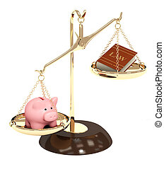 Law and money - Piggy bank, gold scales and code of laws. ...