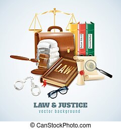 Law And Order Composition Background Poster