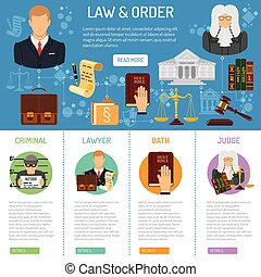 Law and Order infographics with flat icons Lawyer, criminal,...