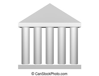 Law and Order Roman Columns Clip Art Isolated on White Background