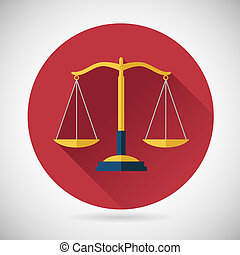Law Balance  Symbol Justice Scales Icon on Stylish Background Modern Flat Design Vector Illustration