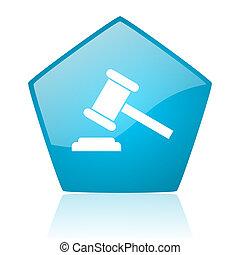 law blue pentagon web glossy icon
