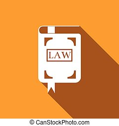 Law book icon with long shadow.