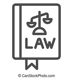 Law book line icon. Constitutional law vector illustration isolated on white. Judgment outline style design, designed for web and app. Eps 10