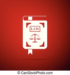 Law book statute book with scales of justice icon isolated on red background. Flat design. Vector Illustration
