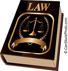 Law Book With Seal is an illustration of a law book used by lawyers and judges with a scale of justice seal and blank banner for your text. Represents legal matters and legal proceedings.